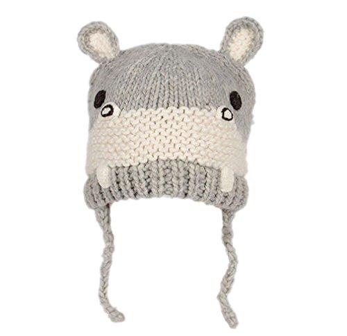 BIBITIME Handmade Knitted Hippo Hat Beanie Kids Toddler