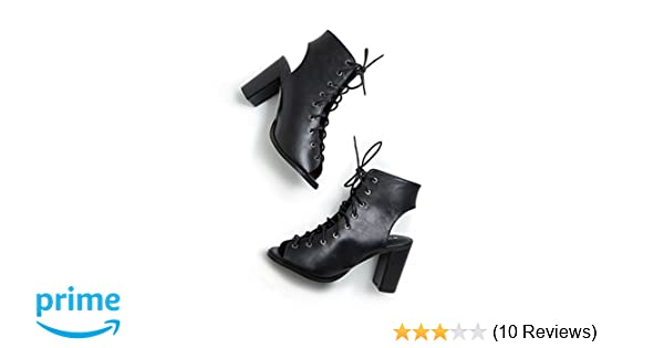 1e0f970f6baf2 Amazon.com | Free Reign Lace Up Open Toe Block Heel Cute Booties (Wide  Width) | Ankle & Bootie