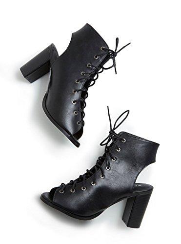 Free ReignLaceUpOpen Toe Block Heel Booties (Wide Width) Black 7