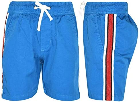 Kids Boys Girls Chino Shorts Contrast Taped Knee Length Half Pant 5-13 Years