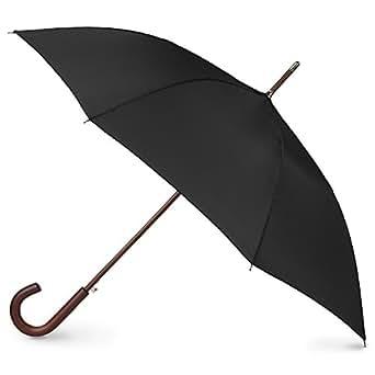 Totes Auto Open Wood Stick Umbrella, Black, One Size