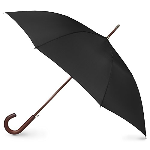 Totes Auto Open Wooden Handle J Stick Umbrella, Black -