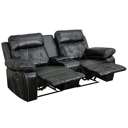 Emma + Oliver Black Leather 2-Seat Reclining Theater Unit-Straight Cup Holders by Emma + Oliver