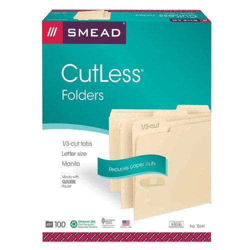 (Smead CutLess File Folder, 1/3-Cut Tab, Letter Size, Manila, 100 Per Box (10341))
