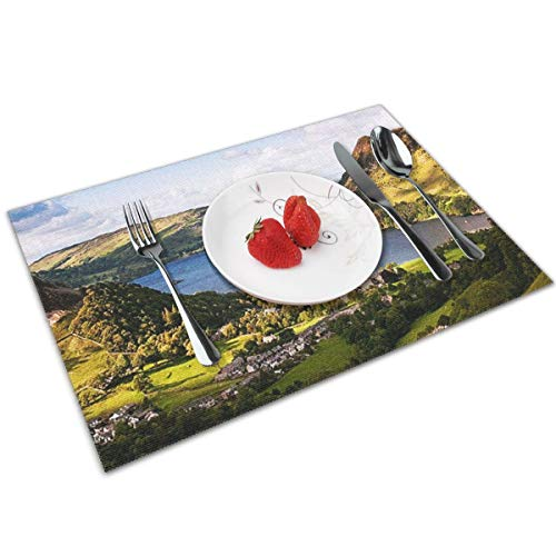 POQQ Placemats for Dining Table Ullswater Lake District 3, Washable Easy to Clean PVC Placemat, Heat Resistand Kitchen Dinner Table Mats 12x18 Inches Set of 4