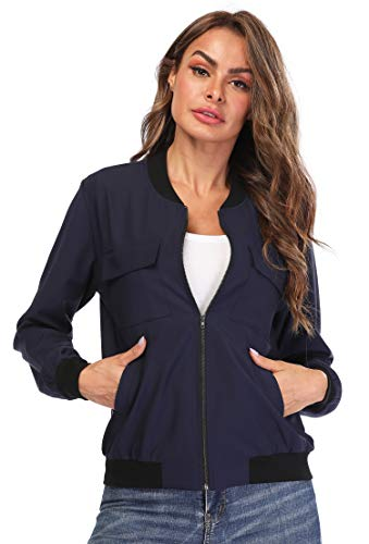 MISS MOLY Women Classic Zip Up Rib Collar Lightweight Jackets Casual Solid Biker Bomber Jacket Coat Blue XS