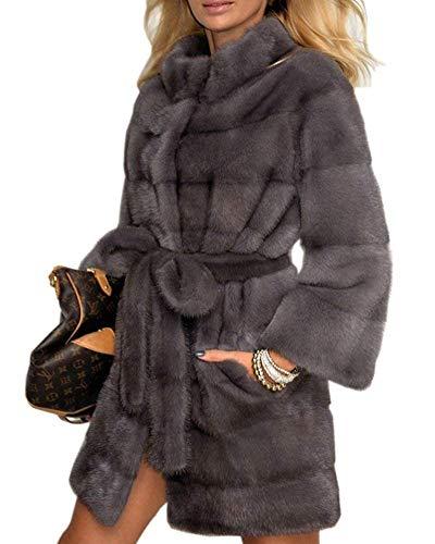 Donna Estilo Colori Giubotto Laterali Qualità Solidi Sintetica Lunga Caldo Especial Lanoso Pelliccia Coreana Invernali Tasche Di Manica Grau Alta Giacca Cappotti Collo rxqwZ0Srn