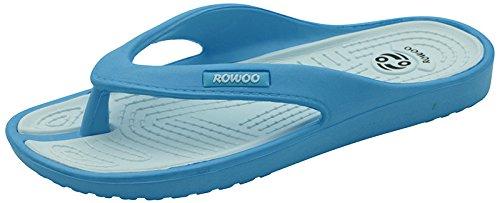 ROWOO Women EVA Toe Post Lightweight Flip Flops Beach Sandals(9 US/40 EU,Blue)