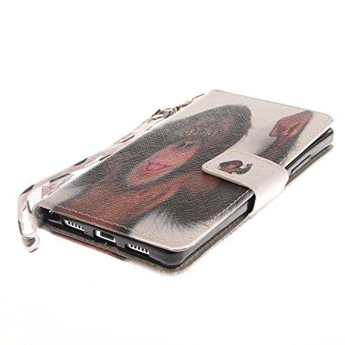 Funda Huawei P8 lite,SainCat Funda de cuero sintético tipo billetera con correa de cordón de Suave PU Carcasa Con Tapa y Cartera,Ranuras para Tarjetas y Billetera Funda de Flip Ranuras Tarjeta Slots F Mono