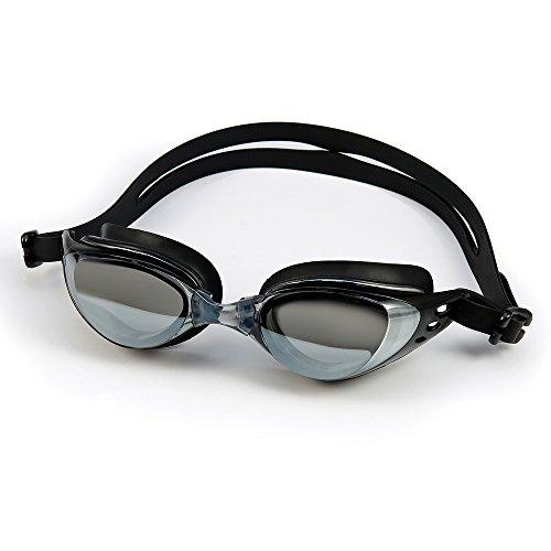 Andux Lunettes de natation-Verres Miroirs-Antibuée-Etanches-Réglables-Lunettes de Piscine-Etui de protection et Bouchons d'oreilles/Noir-YYJ-01