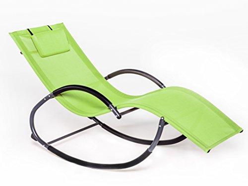 LUCKUP Outdoor Patio Iron Zero Gravity Chair Orbital Rocking Lounge Chair with Pillow Wave Rocker,Patio Chaise Lounge Rocking Lounger, Outdoor Lounge Chair (G Stlye, GREEN)
