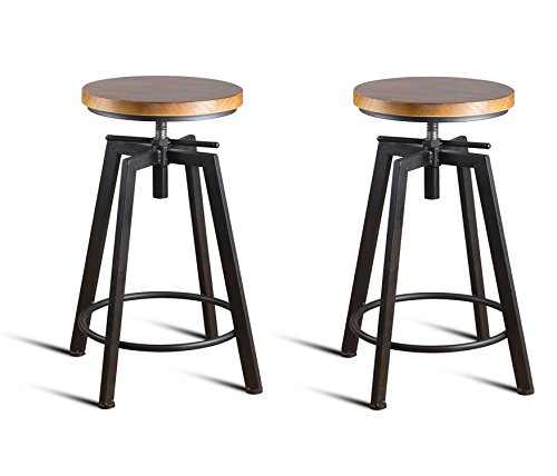 Round Wood Seat Bar/Counter Height Adjustable Swivel Metal Bar Stool/Chair for Bistro Pub Breakfast Kitchen Coffee, Set of 2, Black ()