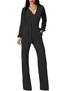 cc468b0d4f4b OLUOLIN Jumpsuits for Women Elegant Sexy V-Neck Long Sleeve Rompers Wide Leg  with Belt