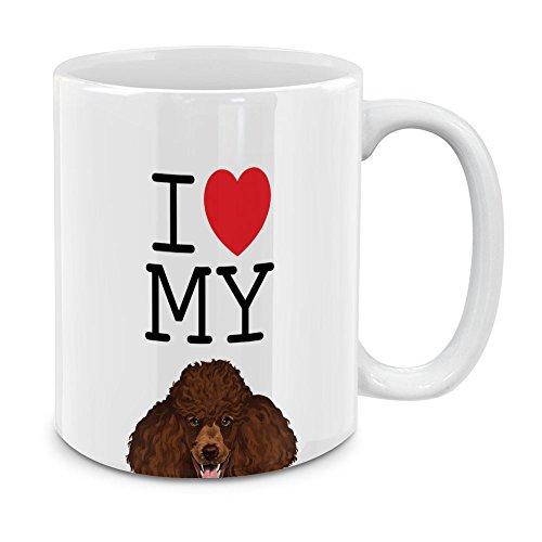 MUGBREW I Love My Brown Standard Poodle White Ceramic Coffee Mug Tea Cup, 11 (White Standard Poodle)