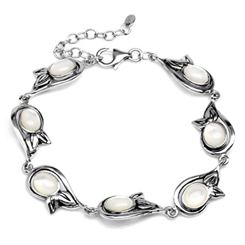 Oval Shape White Mother Of Pearl 925 Sterling Silver Leaf 6.75-8.25 Inch Adjustable Bracelet -