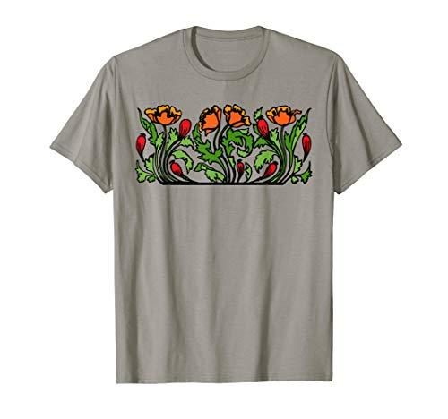 Art Nouveau Red Poppy Flowers Design T-Shirt (Poppy Art Nouveau)