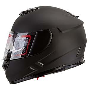 Matte Black Dual Visor Full Face Street Bike Motorcycle Helmet DOT (S)