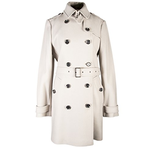 Burberry Brit Women's Mid-Length Wool Twill Trench Coat grey