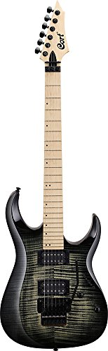 Cort X Series 6 String Solid-Body Electric Guitar, Right Handed, Flamed Grey Burst (X300 GRB)