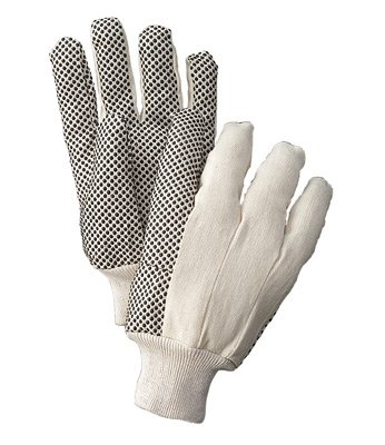 Mens Pvc Dotted Canvas - Radnor® Men's White 8 Ounce Cotton/Polyester Blend Cotton Canvas Gloves With Knitwrist And PVC Dotted Palm, Thumb And Index Finger