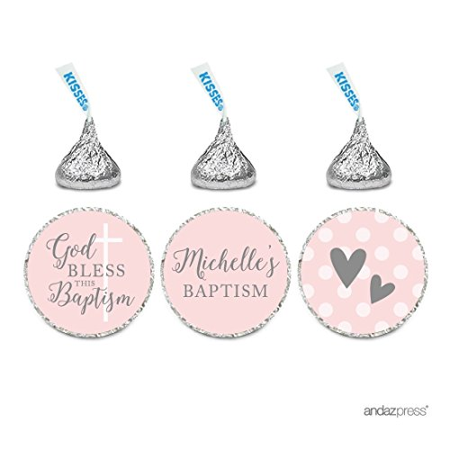 Pink Personalized Chocolate - Andaz Press Blush Pink and Gray Baby Girl Baptism Collection, Personalized Chocolate Drop Label Stickers Trio, 216-Pack, Custom Name, Fits Hershey's Kisses Party Favors