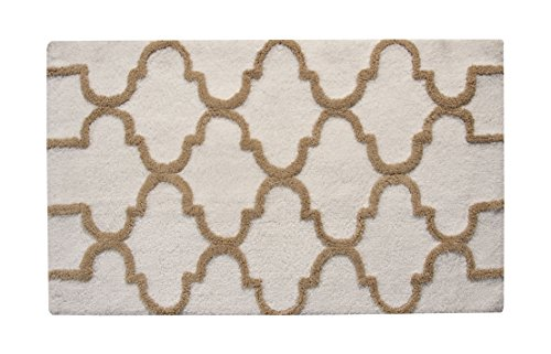 Saffron Fabs Bath Rug 100% Soft Cotton, Size 34x21 Inch, Latex Spray Non-Skid Backing, Ivory/Beige Color, Geometric Pattern, Hand Tufted, Heavy 190 GSF Weight, Machine Washable, Rectangular Shape