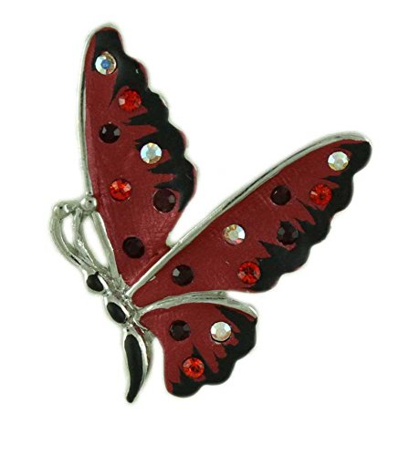 Lilylin Designs Small Red and Black Enamel Butterfly Tac -