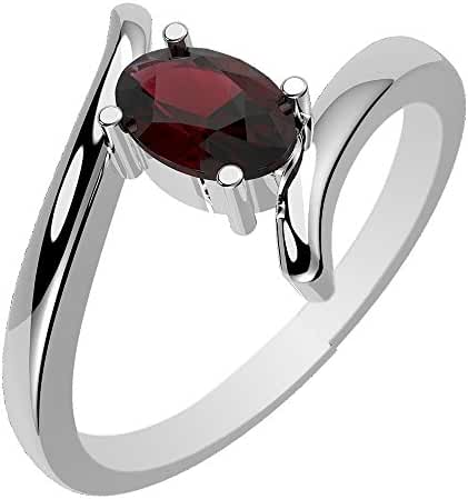 0.55ctw,Genuine Garnet 4x6mm Oval & Solid .925 Sterling Silver Rings