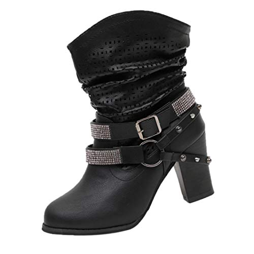 Clearance!Hot Sale!Realdo Womens Autumn Winter Hollow Out Crystal Decoration High Heel Half Boots Shoes(US 8,Black) -