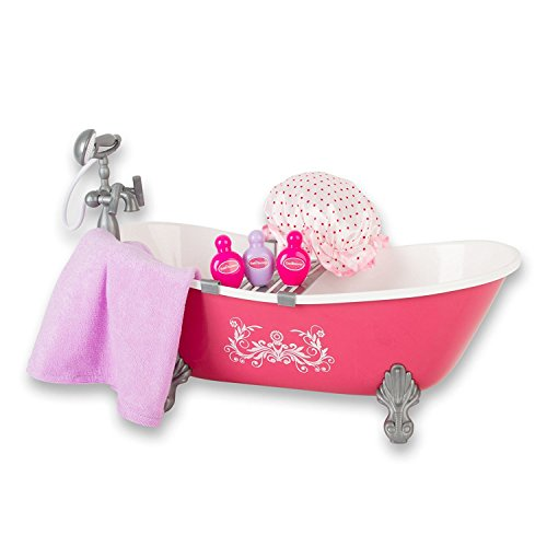 (Beverly Hills Hot Pink Bathtub and Shower Set with Accessories, for 18 Inch Dolls)