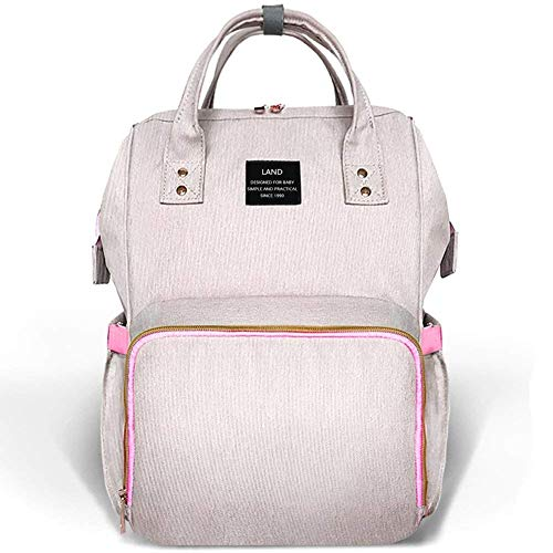 (Land Baby Diaper Bag Backpack - Multi-Function Waterproof Maternity Travel Nappy Bags for Baby Care - Large Capacity, Durable and Stylish (Pink Grey))