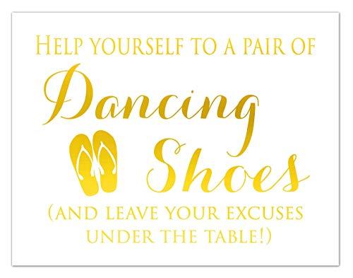 Dancing Shoes Wedding Sign For Guests, Flip Flop Signage, Gold Foil Print, Reception Decorations]()
