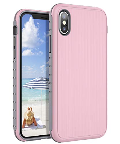 AugeCase iPhone Xs Case, iPhone X Case, Hybrid Hard Plastic & Silicone TPU Shockproof Anti-Scratch Protection Slim Thin Wire Drawing Process Case for iPhone Xs/iPhone X(5.8 inch),Meadow Pink/Grey