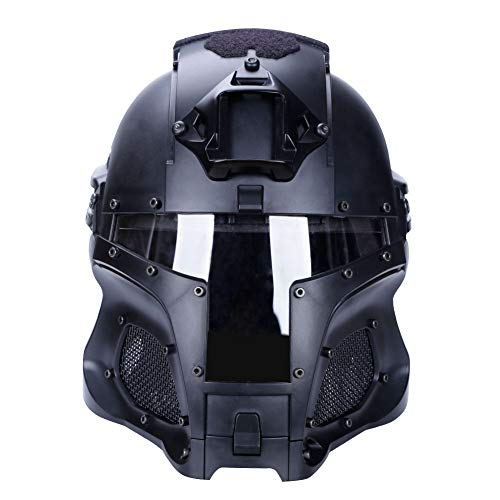 Helmet for Tactical Military Airsoft Paintball with PC Lens Tactical Helmet Full-Covered Helmet Accessories for CS War-Game Shooting (Bk)