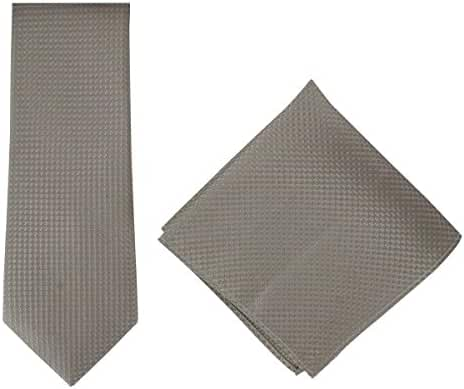 Taupe Textured Geo Silk Tie and Pocket Square Set by Michelsons of London