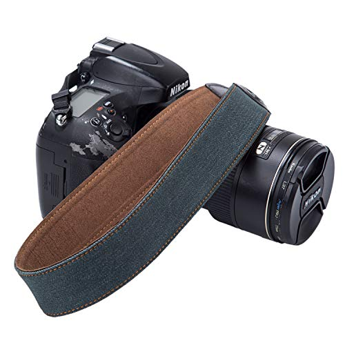 GOIN Camera Strap Retro Vintage Neck Shoulder Belt Strap Soft Safety Tether Multi-color Neck Wrist Strap compatible with Canon Nikon Fuji Pentax Panasonic Sony Camera and DSLR Camera (Dark Green)