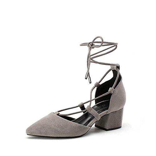 PUMPS Schuhe Pointy Heels,Chucky Ferse Freizeitschuhe,Schuh Strap Schuhe Korean Shoes-A Fußlänge=22.8CM(9Inch)