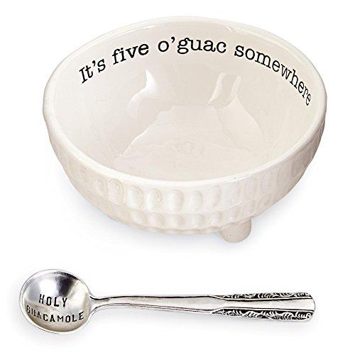 Mary Sugar Spoon - Mud Pie 4851076 Guacamole Serving Dish Set, White