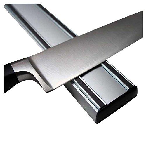 Messer Magnetleiste   Magnet Messerhalter Messerleiste Professional extra stark, Aluminium - 35 50cm - An der Magnetleiste haften die Meisterwerke der Schmiedekunst sicher und griffbereit, Länge 350 mm