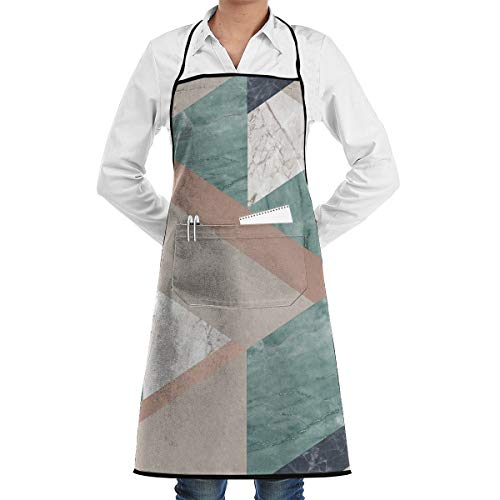 KasaBlaro Green Tile Print Bib Aprons Adjustable Home Depot Apron Kitchen Chef Apron with Pockets for Women and Men
