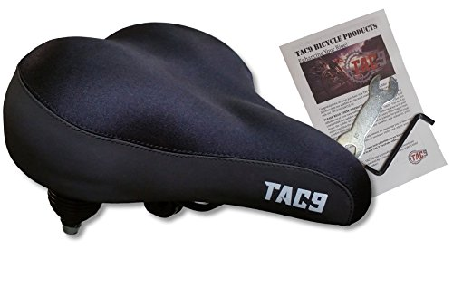 TAC 9 Bike Saddle/Seat - Extra Wide Most Comfortable Comfort Cruiser Seat - Lycra - Unisex - Soft Touch - Comes with Tools and Detailed Instructions!