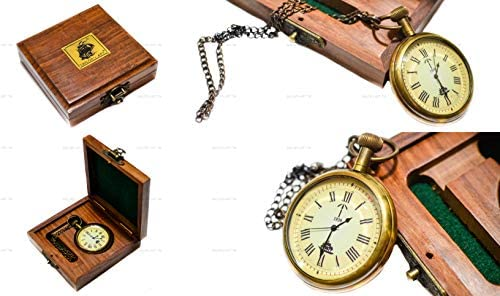 9350a267f Amazon.com: Sailor's Art Antique Brass Ship Pocket Watch With Wooden Box  Unique Gift 2