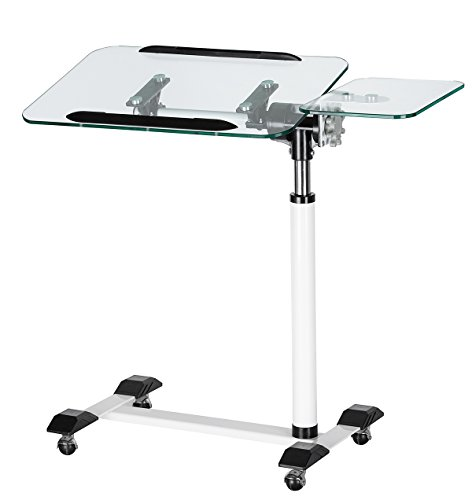 Orolay Nursing Home Adjustable Glass Computer Desk Sofa Side Table Bed Table White