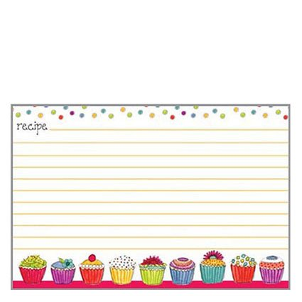 Card Designs Recipe (20 lined Recipe Cards by Gina B. Designs - Colorful Cupcakes)