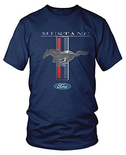 Amdesco Men's Officially Licensed Ford Mustang Pony Emblem T-Shirt, Navy Blue Small