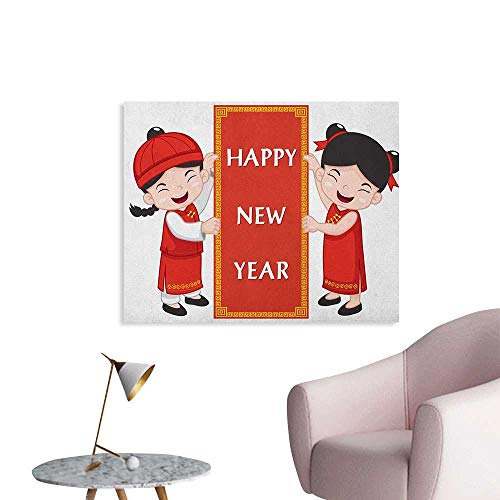 Anzhutwelve Chinese New Year Painting Post Cheerful Asian Children in Traditional Costumes Holding a Celebration Sign Cool Poster Multicolor W48 xL32]()