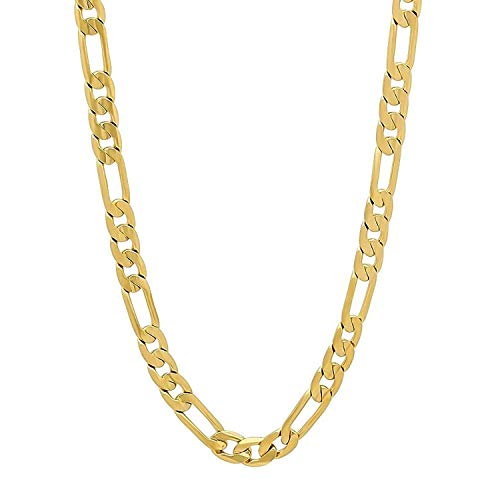 24k Figaro Gold Chain for Men 10MM Cuban Link Necklace Real Diamond Cut Jewelry Resists Tarnishing US Made