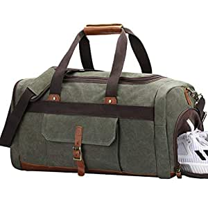 Amazon.com: S-ZONE – Bolso de viaje de lona de Vintage ...