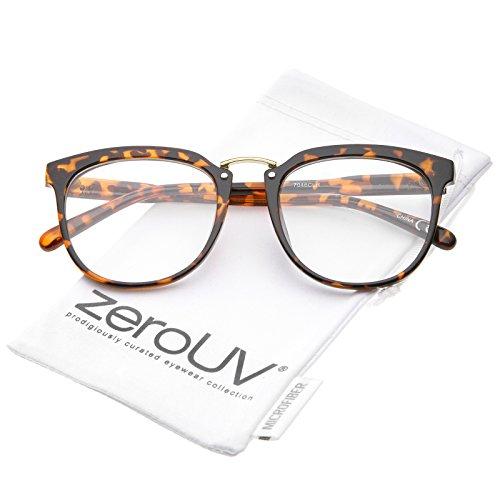 zeroUV - Classic Metal Bridge Square Flat Clear Lens Horn Rimmed Eyeglasses 55mm (Tortoise-Gold / - Rimmed Eyeglasses Gold