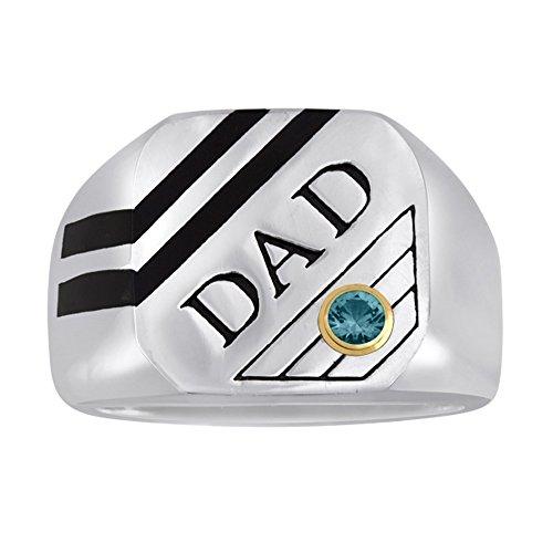 Esty   Me Mens Stainless Steel And Black Enamel Dad Ring W Swarovski Birthstone   December  Size 13